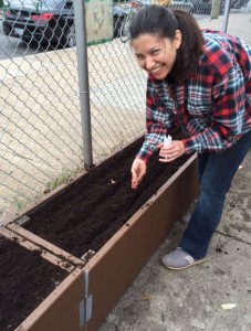 Julie plants cover crop seeds that will help replenish the soil with nitrogen and other nutrients.