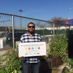 Jerome Cunningham from Nature Works Everywhere delivered our new garden sign  when he made a sight visit.